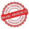 Grunge red brand awareness word round rubber stamp on white background