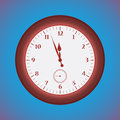 Grunge red clock on a blue background vector illustration Royalty Free Stock Photo