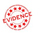 Grunge red evidence word with star icon round rubber stamp on white background