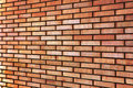 Grunge Red yellow beige tan fine brick wall texture background perspective, large detailed horizontal closeup