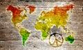 Grunge reggae world map Royalty Free Stock Photo