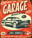 Grunge retro car service sign vector illustration Stock Image