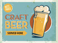 Grunge retro metal sign with beer. Glass of cold craft beer. Vintage poster. Road signboard. Old fashioned design.