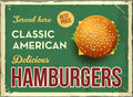 Grunge retro metal sign with hamburger. Classic american fast food. Vintage poster with cheesburger. Old fashioned