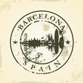 Grunge rubber stamp with barcelona spain vector illustration Royalty Free Stock Images