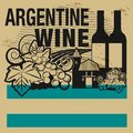 Grunge rubber stamp or label with words Argentine Wine Royalty Free Stock Photo