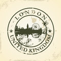 Grunge rubber stamp with london united kingdom vector illustration Stock Photos