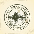 Grunge rubber stamp with san francisco california vector illustration Royalty Free Stock Images