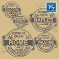 Grunge rubber stamp set with names of italian cities Royalty Free Stock Images
