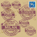 Grunge rubber stamp set with names of italian cities part two Stock Image