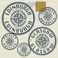Grunge rubber stamp set with names of scotland cities Stock Photos