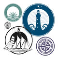 Grunge rubber stamp set nautical theme Stock Photo