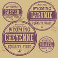 Grunge rubber stamp set Wyoming Stock Photography