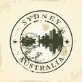 Grunge rubber stamp with sydney australia vector illustration Royalty Free Stock Photo