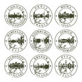 Grunge rubber stamps with european cities london paris rome barcelona edinburgh zurich budapest krakow and pisa vector Royalty Free Stock Images