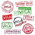 Grunge rubber visa stamps Royalty Free Stock Photo