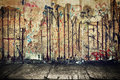 Grunge, rusty concrete wall with random graffiti Royalty Free Stock Photo