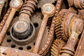Grunge rusty metal components of industrial machine. old machine Royalty Free Stock Photo