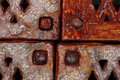 Grunge rusty metal frames four corners with rivets Royalty Free Stock Photography