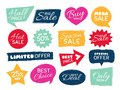 Grunge sale badge. Retro pricing sticker, grungy textured price tag and vintage best offer label badges isolated vector Royalty Free Stock Photo