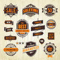 Grunge sale emblems set of retro styled trade badges on wood plank background vector illustration Royalty Free Stock Photo