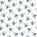 Grunge seamless pattern with insects. Vector