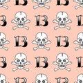 Grunge seamless pattern with skulls vector illustration human bone horror art dead skeleton.