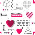 TRENDY LOVE GEOMETRIC SEAMLESS VECTOR PATTERN. DIVERSE SYMBOL HEART PAINTED ART TEXTURE. VALENTINES DAY BACKGROUND Royalty Free Stock Photo