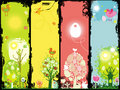 Grunge set of Easter banners Stock Photography