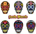 Grunge skull coat of arms skull set Royalty Free Stock Photo