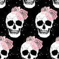 Grunge skull and rose seamless pattern Royalty Free Stock Photo