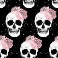 Grunge skull and rose seamless pattern Royalty Free Stock Photo