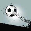 Grunge soccer ball flying with silhouette splatter background Stock Image