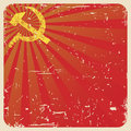 Grunge soviet background with hammer and sickle illustration Royalty Free Stock Image