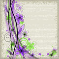 Grunge spring floral background with green and violet flowers Royalty Free Stock Photo