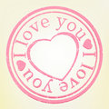 Grunge Stamp: I Lov� you. Pink color. EPS 8 Royalty Free Stock Photo