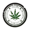 Grunge stamp with marijuana Stock Photo