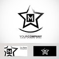 Grunge star letter M logo Royalty Free Stock Photo