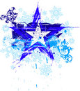 Grunge star & snowflakes Royalty Free Stock Photos