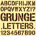 Grunge stencil letters an alphabet set of and numbers Royalty Free Stock Photo