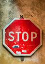 Grunge stop traffic sign background Royalty Free Stock Images
