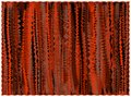 Grunge striped rug in orange,brown,black colors with fringe