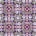 Grunge striped Tribal ethnic style geometric vector seamless pattern. Vector colorful aztec navajo native background. Tribe repeat Royalty Free Stock Photo
