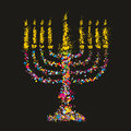 Grunge stylized colorful Chanukiah (menorah) on bl Royalty Free Stock Images