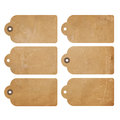 Grunge tags set of six brown gift isolated on white Royalty Free Stock Photography