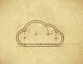 Grunge technical minimalistic design cloud cloud computing theme Stock Images
