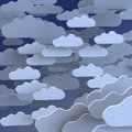 Grunge texture background of cartoon clouds on blue background Stock Images