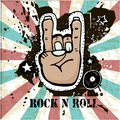 Grunge texture background , text Rock n Roll. Hand palm. Rock sy Royalty Free Stock Photo