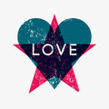 Grunge texture Love Heart and Star abstract background. Retro vector illustration. Royalty Free Stock Photo
