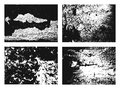 Grunge texture set. Collection of different black and white urban backgrounds and frames with dust, grain and scratches